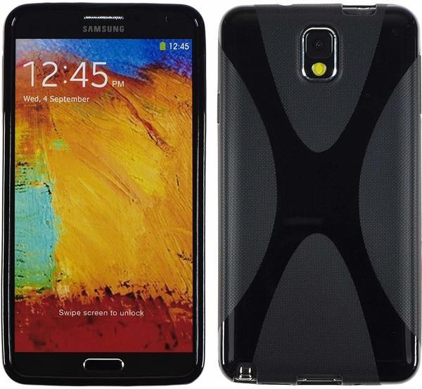 PhoneNatic Samsung Galaxy Note 3 Hülle Silikon schwarz X-Style Case Galaxy Note 3 Tasche + 2 Schutzfolien