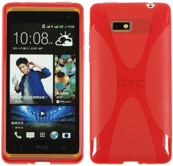 PhoneNatic Silikonhülle für HTC Desire 600 X-Style rot
