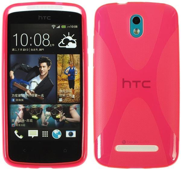 PhoneNatic Silikonhülle für HTC Desire 500 X-Style pink