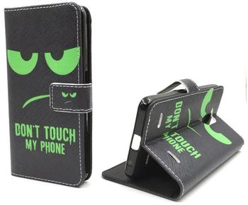 König-Shop Handy Tasche Book Style Rahmen Flip Cover Case Schutz Hülle Etui Motiv Wallet DONT TOUCH MY PHONE GRÜN ZTE Blade L3, Motiv:DONT