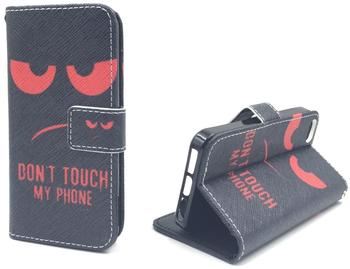 König-Shop Handy Tasche Book Style Rahmen Flip Cover Case Schutz Hülle Etui Motiv Wallet DONT TOUCH MY PHONE ROT Sony Xperia Z5 Compact, Motiv:DONT
