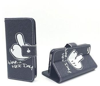 König-Shop Handy Tasche Book Style Rahmen Flip Cover Case Schutz Hülle Etui Motiv Wallet, Für Handy:Wiko Lenny 2, Motiv:MITTELFINGER