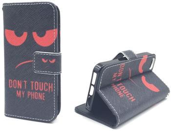 König-Shop Handy Tasche Book Style Rahmen Flip Cover Case Schutz Hülle Etui Motiv Wallet DONT TOUCH MY PHONE Apple iPhone 55S
