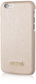 Guess GUHCP6TBE Tori Collection harte Schutzhülle mit Kartenfach und Metall Logo für Apple iPhone 6 6S 11,9 cm (4,7 Zoll) beige