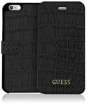 Guess Book Case Guess Shiny Croco für Apple iPhone SE/5/5S matt schwarz