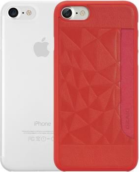 Ozaki O!Coat 0.3 Jelly + Pocket Case - Apple iPhone 7 Rot/Transparent