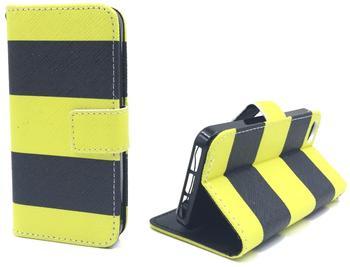 König-Shop Handy Tasche Book Style Rahmen Flip Cover Case Schutz Hülle Etui Motiv Wallet Biene SCHWARZ