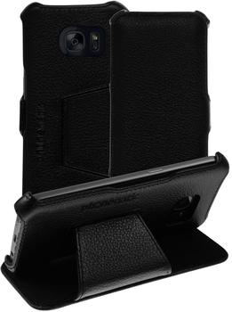PhoneNatic Echt-Lederhülle für Samsung Galaxy S7 Leder-Case schwarz Tasche Galaxy S7 Hülle + Glasfolie