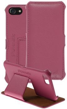 PhoneNatic Echt-Lederhülle für Apple iPhone 7 Leder-Case pink Tasche iPhone 7 Hülle + Glasfolie