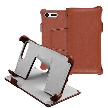 PhoneNatic Echt-Lederhülle für Sony Xperia X Compact Leder-Case braun Tasche Xperia X Compact Hülle