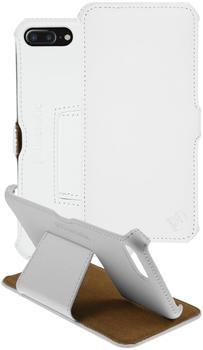 PhoneNatic Echt-Lederhülle für Apple iPhone 7 Plus Leder-Case weiß Tasche iPhone 7 Plus Hülle + Glasfolie