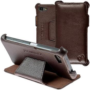 PhoneNatic Echt-Lederhülle für Sony Xperia Z5 Compact Leder-Case braun Tasche Xperia Z5 Compact Hülle + Glasfolie