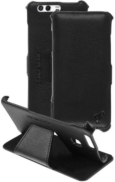 PhoneNatic Echt-Lederhülle für Huawei P9 Leder-Case schwarz Tasche P9 Hülle + Glasfolie