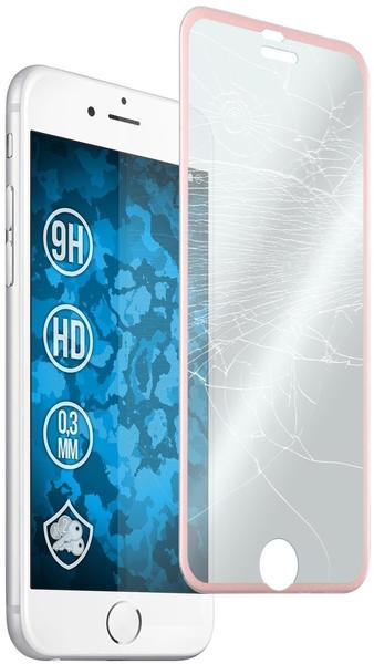 PhoneNatic 1 x Apple iPhone 6s6 Glas-Displayschutzfolie klar full screen mit Metallrahmen in roségold für iPhone 6s6