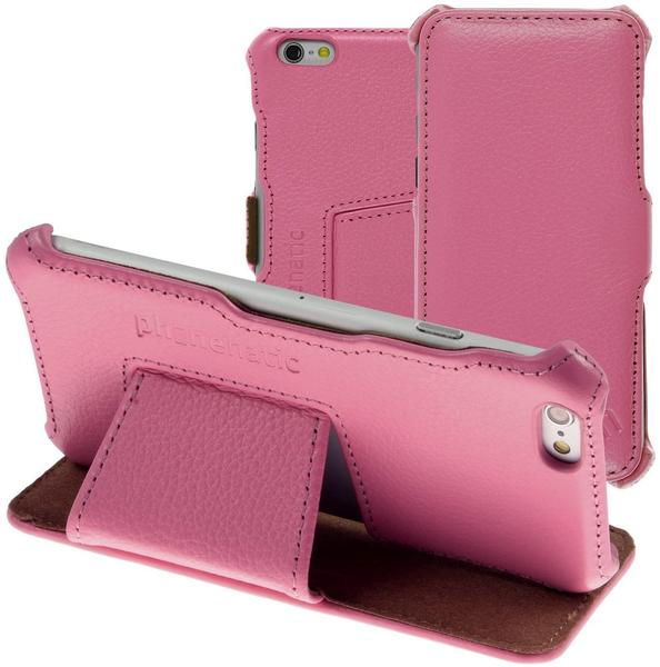 PhoneNatic Echt-Lederhülle für Apple iPhone 6s6 Leder-Case rosa Tasche iPhone 6s6 Hülle + Glasfolie