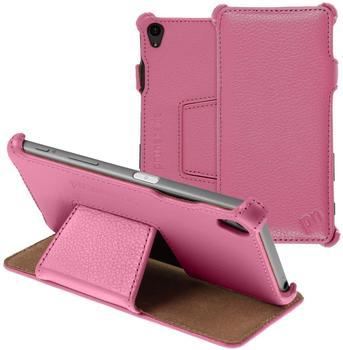 PhoneNatic Echt-Lederhülle für Sony Xperia Z5 Leder-Case rosa Tasche Xperia Z5 Hülle + Glasfolie