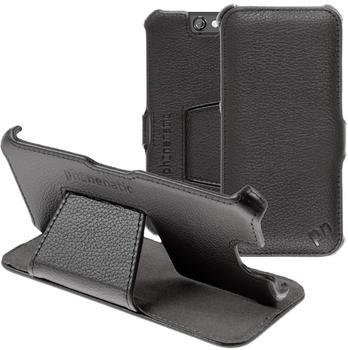 PhoneNatic Echt-Lederhülle für HTC One A9 Leder-Case schwarz Tasche One A9 Hülle + Glasfolie