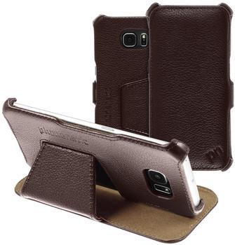 Phonenatic Echt-Lederhülle für Samsung Galaxy S6 Edge Leder-Case braun Tasche Galaxy S6 Edge Hülle + 2 Schutzfolien