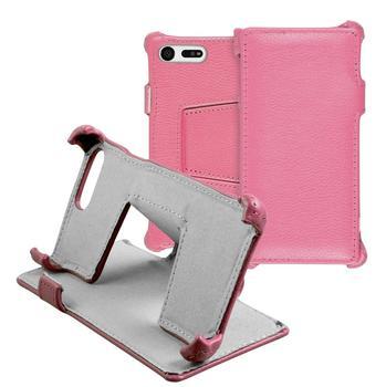 Phonenatic Echt-Lederhülle für Sony Xperia X Compact Leder-Case rosa Tasche Xperia X Compact Hülle + Glasfolie