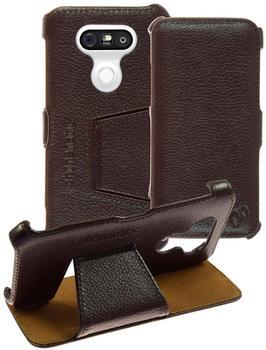 Phonenatic Echt-Lederhülle für LG G5 Leder-Case braun Tasche G5 Hülle + Glasfolie