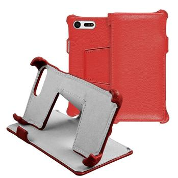 Phonenatic Echt-Lederhülle für Sony Xperia X Compact Leder-Case rot Tasche Xperia X Compact Hülle + Glasfolie