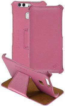 Phonenatic Echt-Lederhülle für Huawei P9 Leder-Case rosa Tasche P9 Hülle + Glasfolie