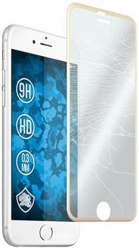PhoneNatic 1 x Apple iPhone 6s6 Glas-Displayschutzfolie klar full screen mit Metallrahmen in gold für iPhone 6s6