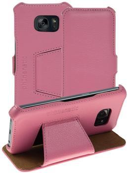 Phonenatic Echt-Lederhülle für Samsung Galaxy S7 Leder-Case rosa Tasche Galaxy S7 Hülle + Glasfolie