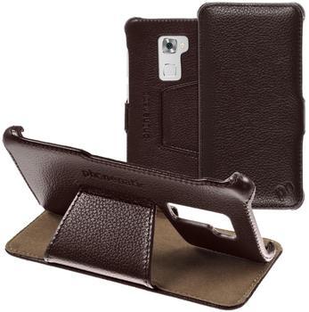 Phonenatic Echt-Lederhülle für Huawei Mate S Leder-Case braun Tasche Mate S Hülle + Glasfolie