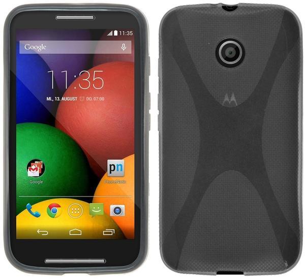 Phonenatic Motorola Moto E Hülle Silikon grau X-Style Case Moto E Tasche + 2 Schutzfolien