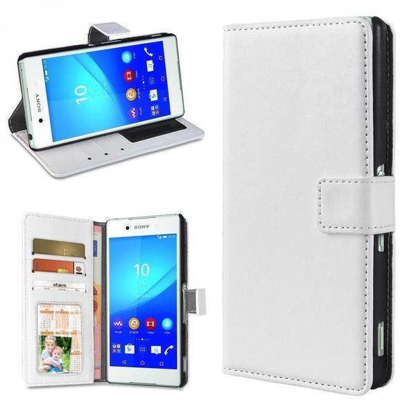 eFabrik - Schutz Tasche für Sony Xperia Z3+ Hülle weiß ( Xperia Z3 plus ) Handy Zubehör Bookstyle Case Aufsteller Innenfächer Wallet Kunstleder