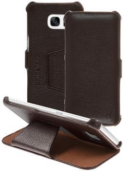 PhoneNatic Echt-Lederhülle für Samsung Galaxy S7 Edge Leder-Case braun Tasche Galaxy S7 Edge Hülle + 2 Schutzfolien