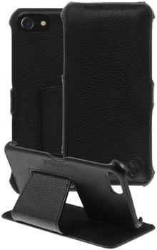 PhoneNatic Echt-Lederhülle für Apple iPhone 7 Leder-Case schwarz Tasche iPhone 7 Hülle + Glasfolie