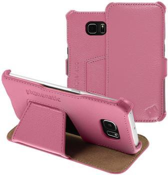 PhoneNatic Echt-Lederhülle für Samsung Galaxy S6 Edge Leder-Case rosa Tasche Galaxy S6 Edge Hülle + 2 Schutzfolien