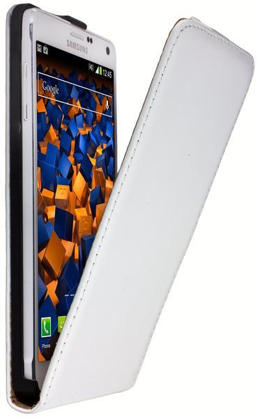 mumbi Flip Case Ledertasche weiß für Samsung Galaxy Note 4