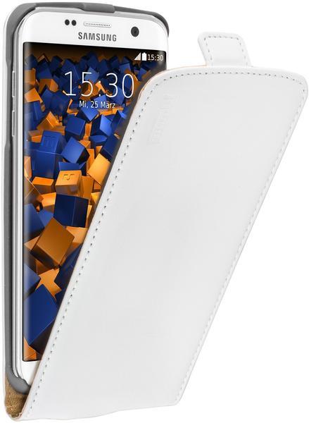 mumbi Flip Case Ledertasche weiß für Samsung Galaxy S7 Edge
