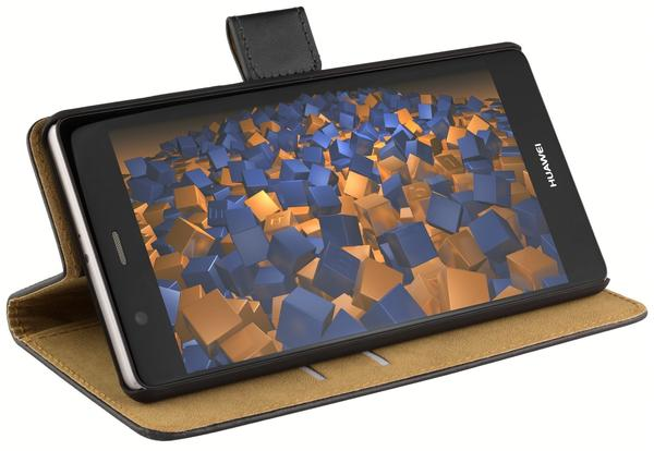 mumbi Bookstyle Ledertasche schwarz für Huawei P9 Plus