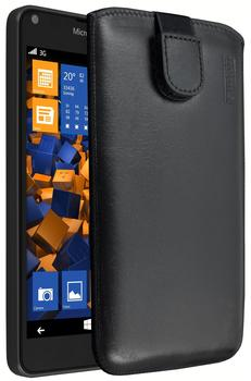 Mumbi Ledertasche schwarz (Microsoft Lumia 640)