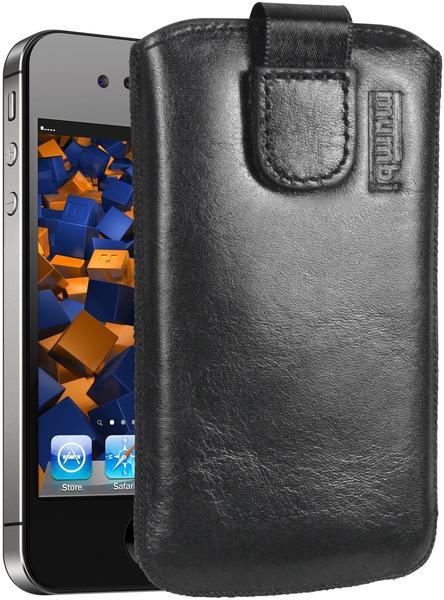 mumbi Leder Etui Tasche mit Ausziehlasche schwarz für Apple iPhone 4