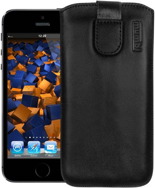 mumbi Leder Etui Tasche mit Ausziehlasche schwarz für Apple iPhone SE 5 5s 5c