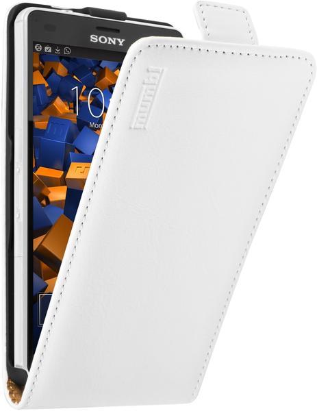 Mumbi Premium Leder Flip Case Sony Xperia Z3 compact weiß