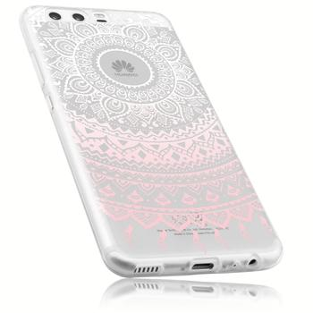 mumbi TPU Hülle Ultra Slim transparent rosa Motiv Mandala für Huawei P10 Schutzhülle im Design