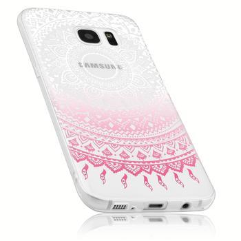 Mumbi TPU Hülle transparent rosa Motiv Mandala für Samsung Galaxy S7 im Design