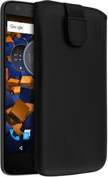 mumbi Leder Etui Tasche mit Ausziehlasche schwarz für Lenovo Moto Z