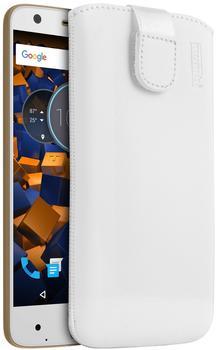 mumbi Leder Etui Tasche mit Ausziehlasche weiß für Lenovo Moto Z