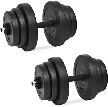 vidaXL Set of 2 black dumbbells with weights