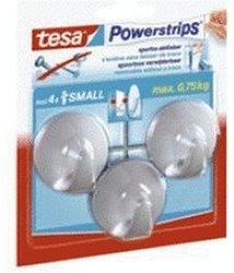 Tesa Powerstrips Small rund weiß 3 Haken / 4 Strips Small