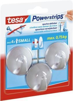 Tesa Powerstrips Small rund mattchrom 3 Haken / 4 Strips Small