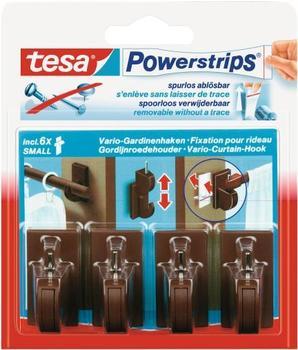 Tesa Powerstrips Vario-Gardinenhaken braun 4 Haken / 6 Strips Small