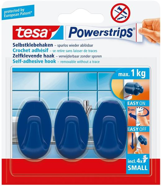 Tesa Powerstrips Oval Blau 3 Haken 4 Strips Small Tests